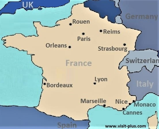 France map main cities