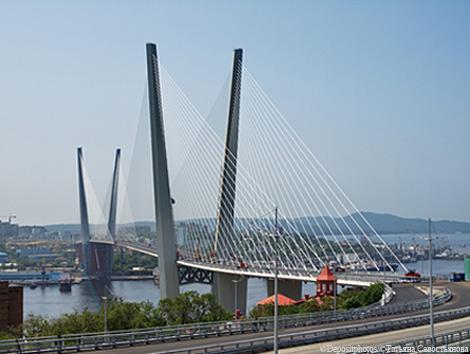 Bridge across the Golden Horn Bay in Vladivostok