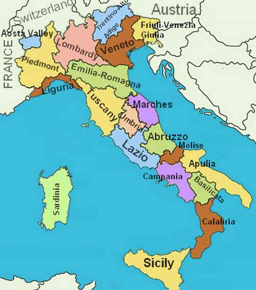 Italy Region Map.Regions Of Italy Name And Location On The Map