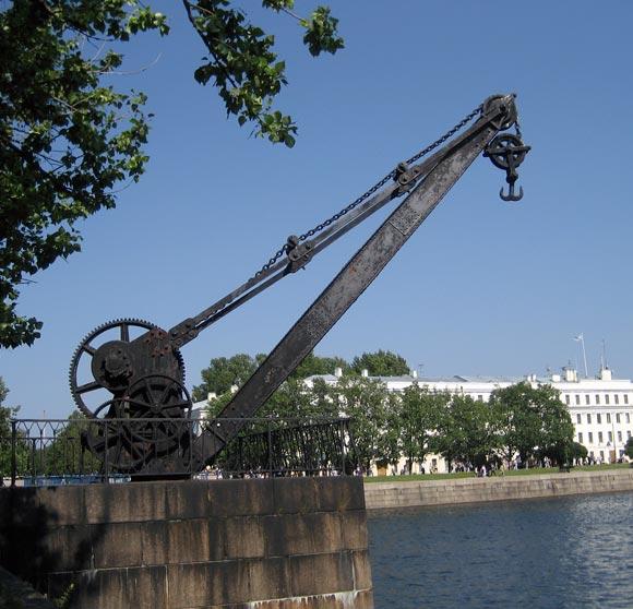 Old crane in the  Kronstadt town