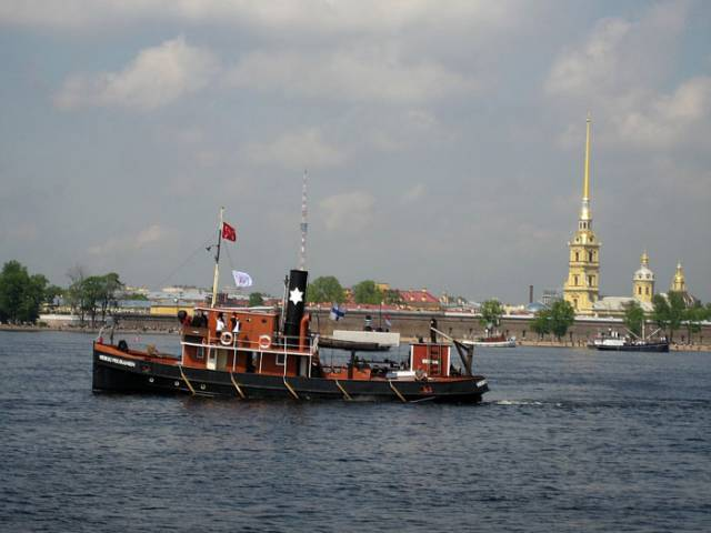 Old ship on the Neva River