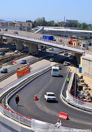 Road construction in Sochi