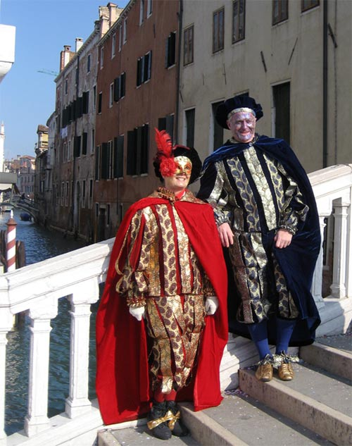 People in carnival costumes in Venice