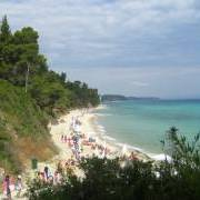 The beach in Greece, near the village of Kriopigi, Mediterranean Sea