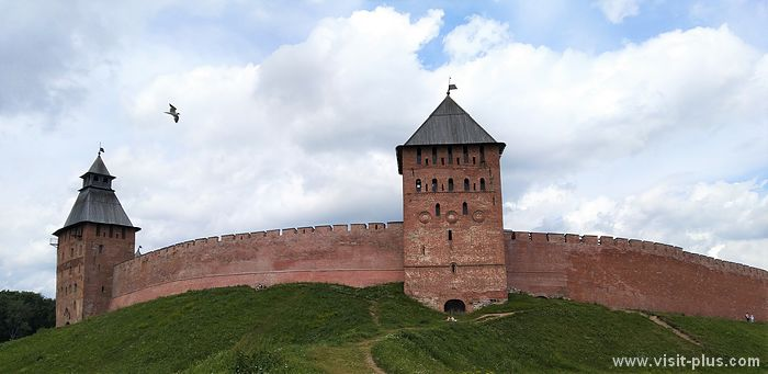 The fortress wall of the Novgorod Kremlin