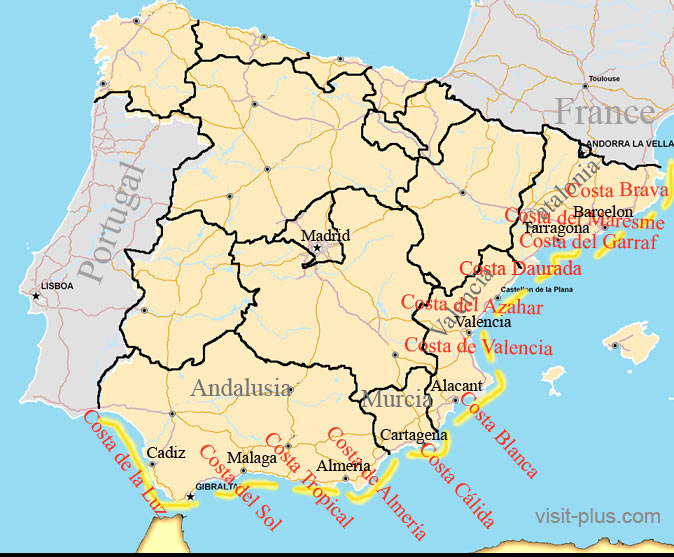 Map Of Spain With Barcelona.The Mediterranean Coast Of Spain Travel Information